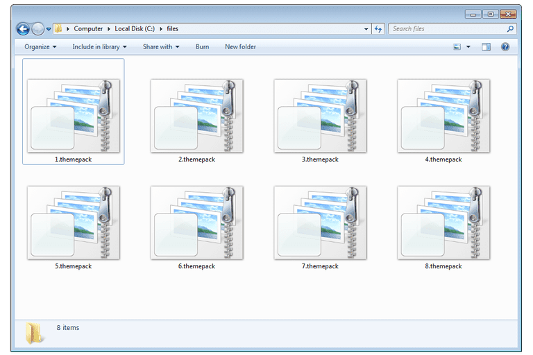Screenshot of several .themepack files in Windows 7