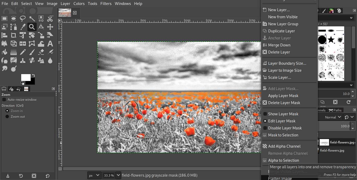 GIMP flatten image