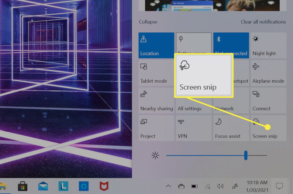 Windows 10 notification center open on a touchscreen laptop.