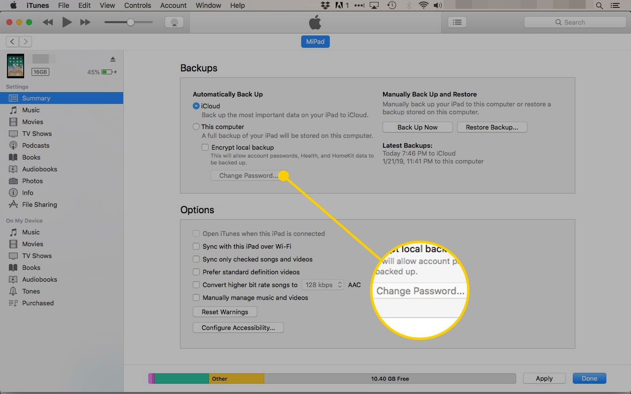 iTunes on a Mac with the