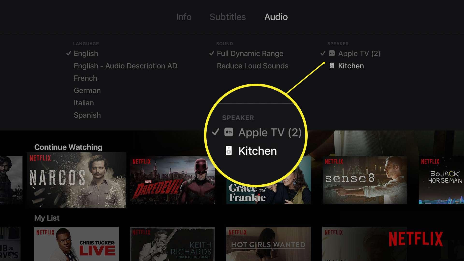 Apple TV speaker selection