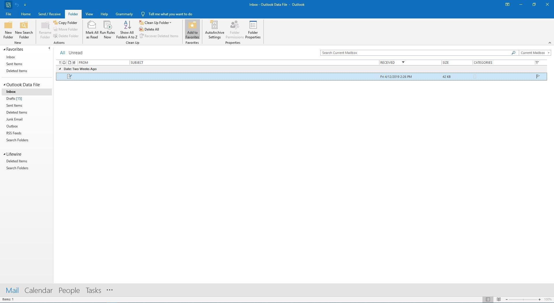 The Folder tab in Outlook.