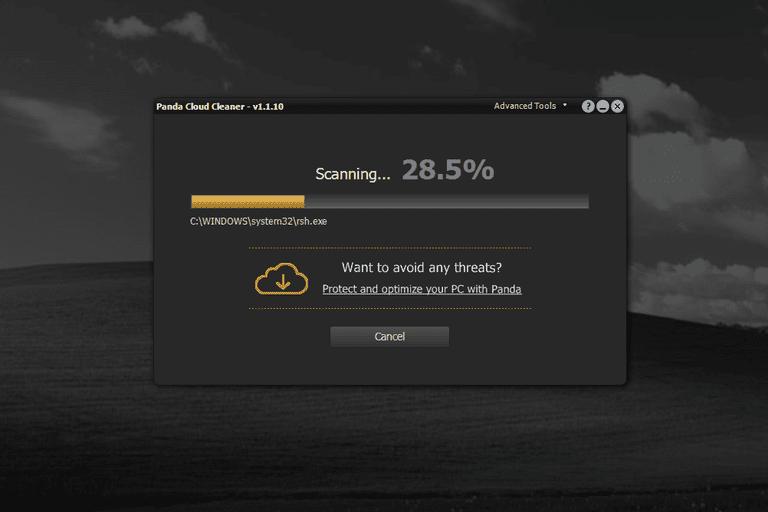 Panda Cloud Cleaner scanning a computer