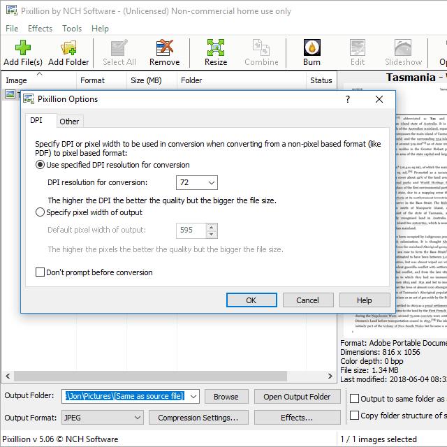 The Pixillion PDF to JPG converter program