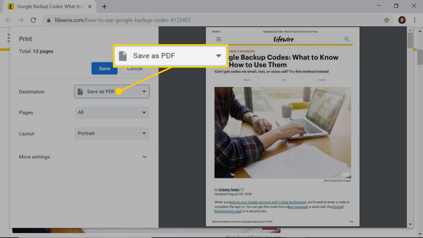 Use the Print dialog box to save a web page as a PDF in Chrome