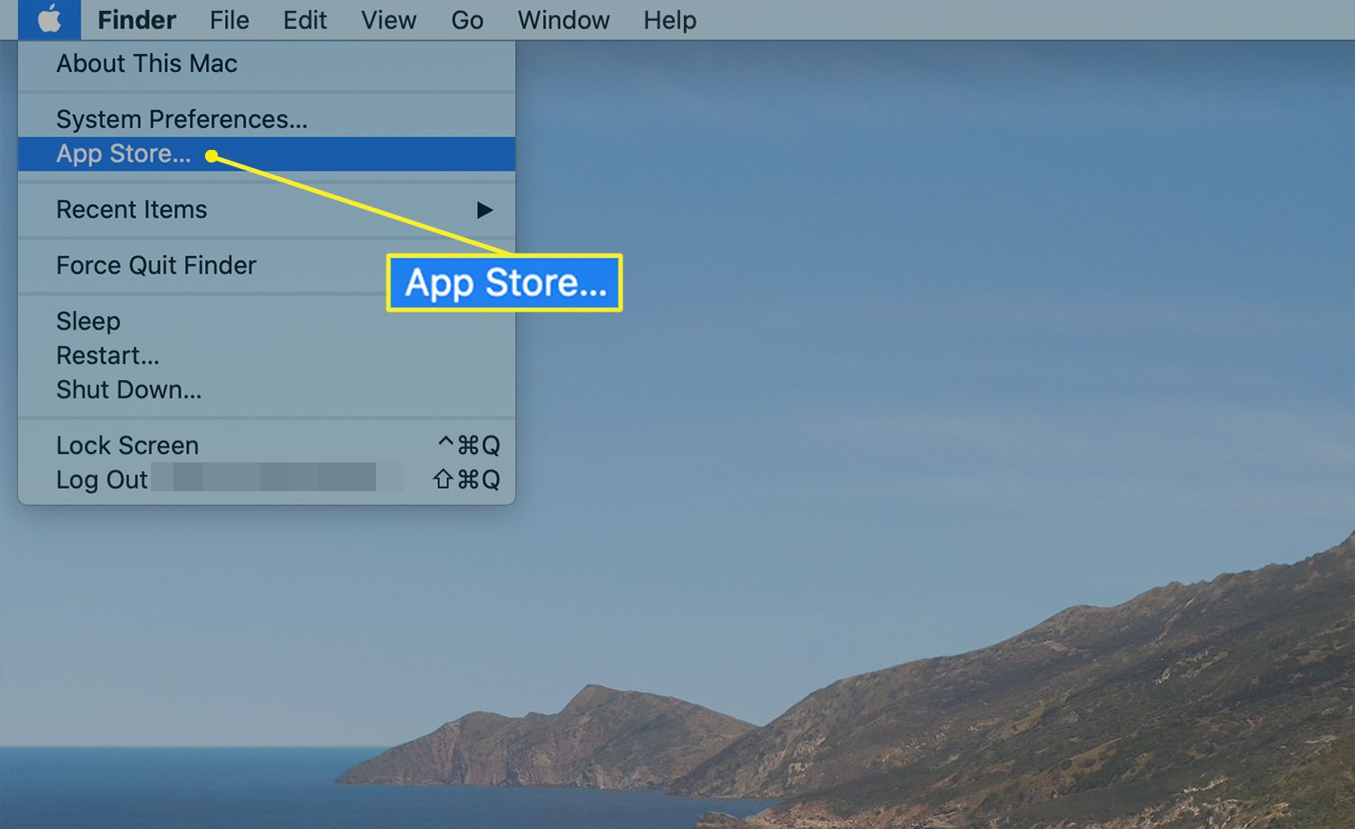 Mac desktop with the App Store highlighted under the Apple menu