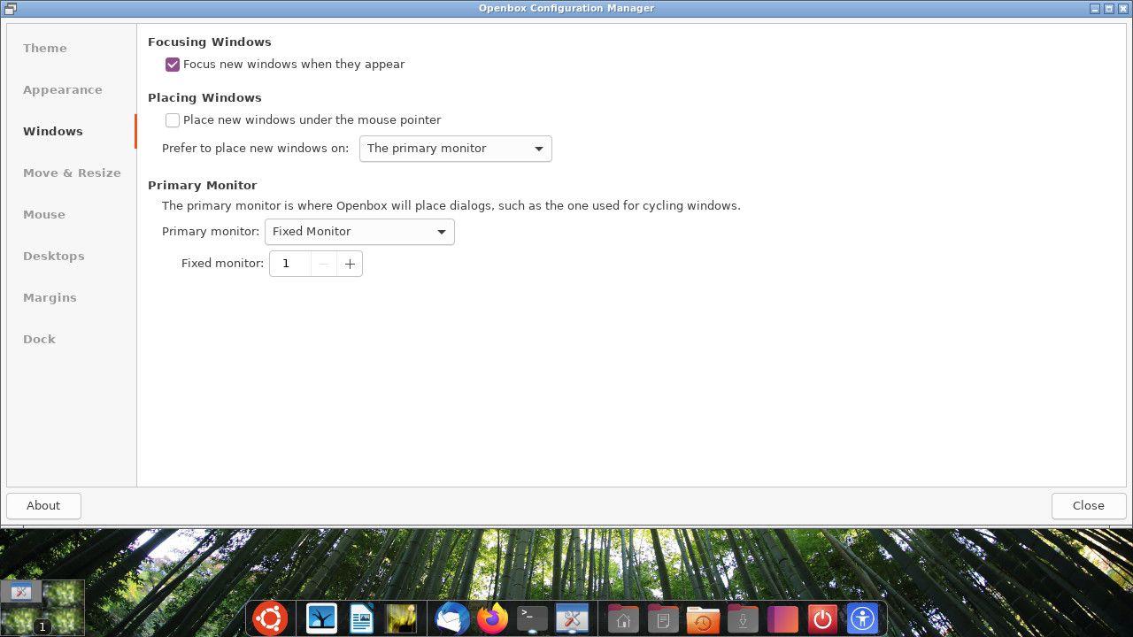 Ubuntu Openbox window settings