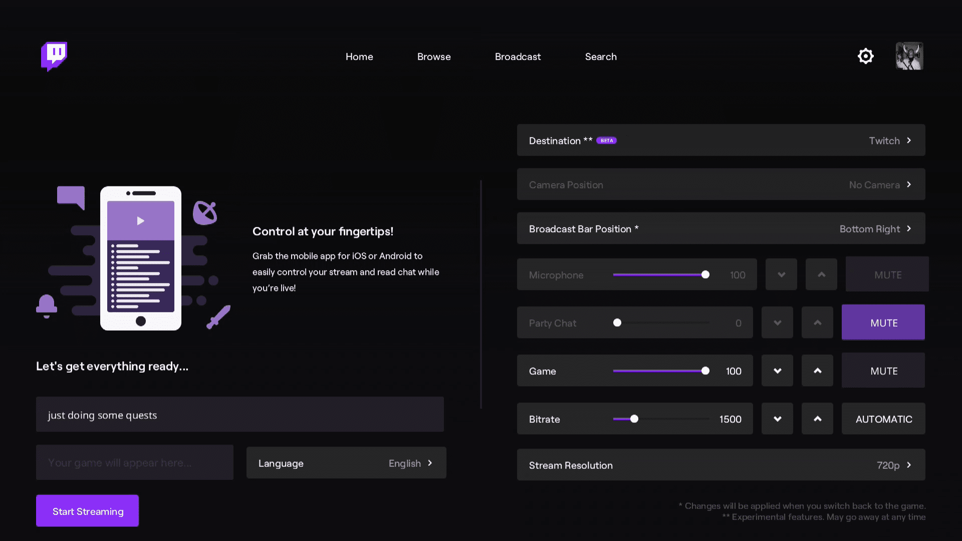 Twitch broadcast options on the Xbox Series X S.