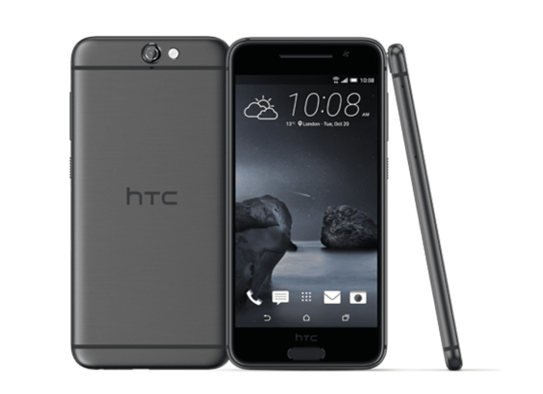 HTC One A9 smartphones, seen from back, front, and side
