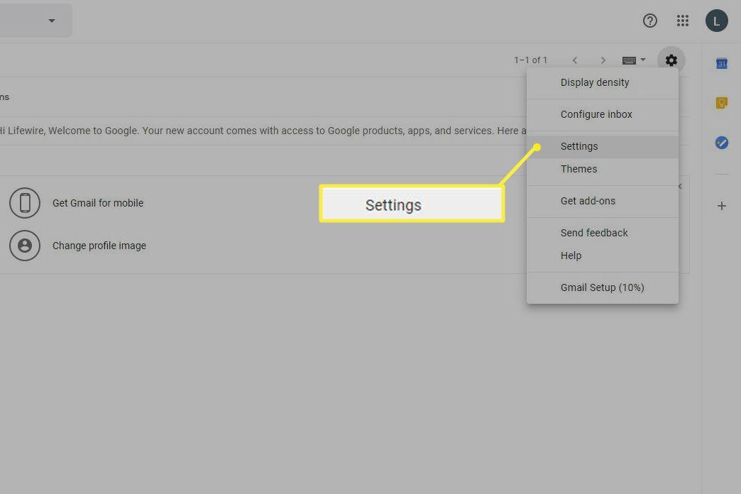 Gmail Settings in menu