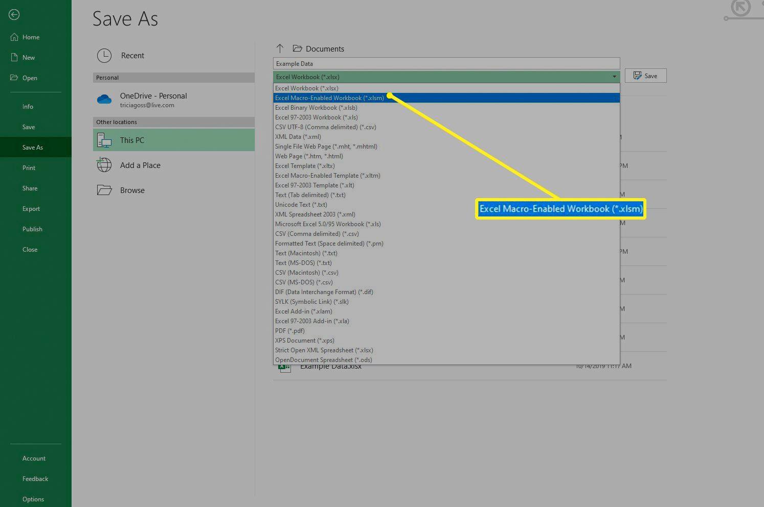 Excel Macro-Enabled Workbook option