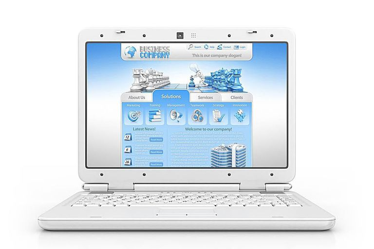 Template website shown on a laptop