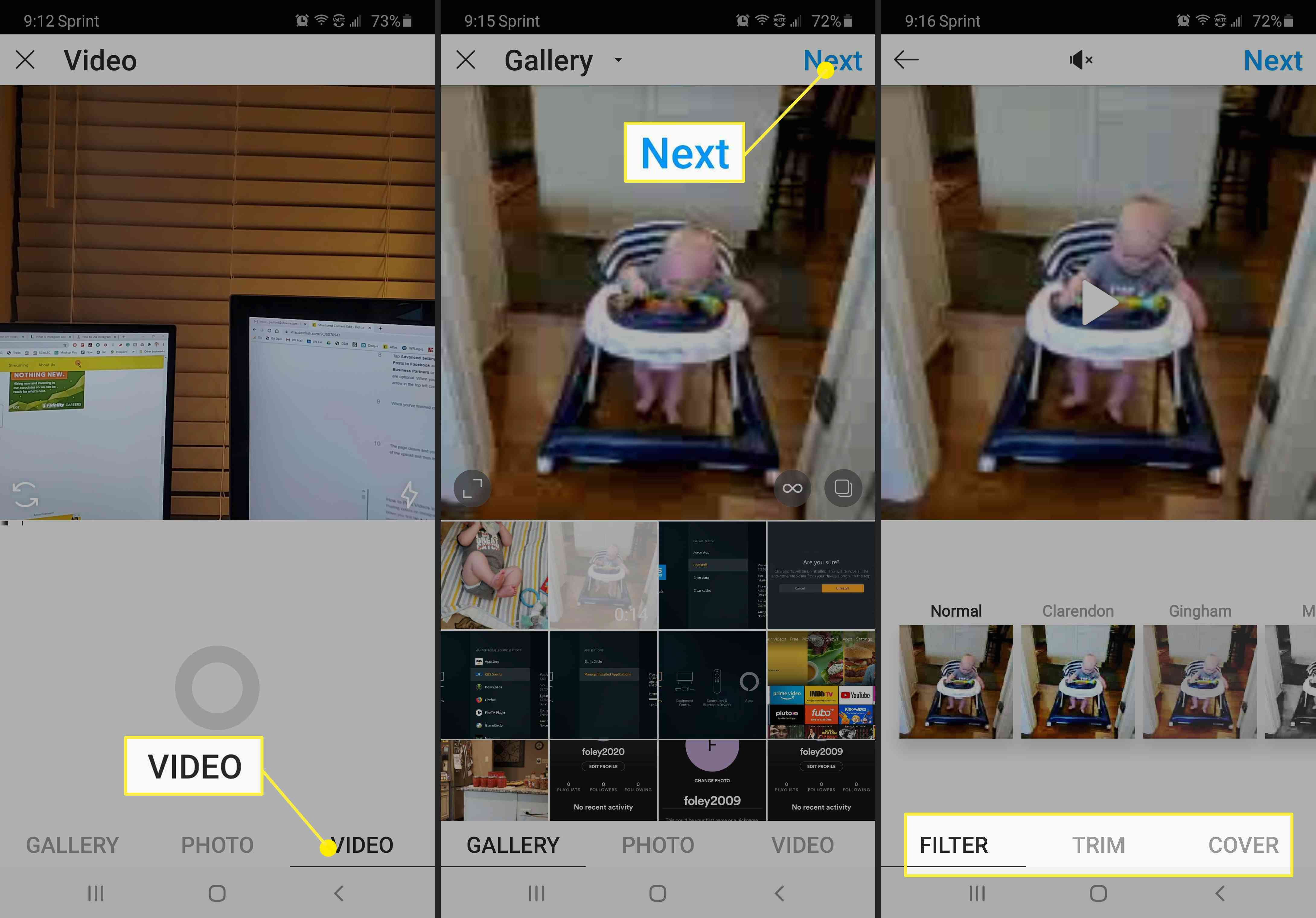 Screenshots of how to post a video to Instagram.