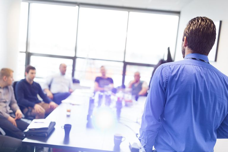 Man in a presentation meeting