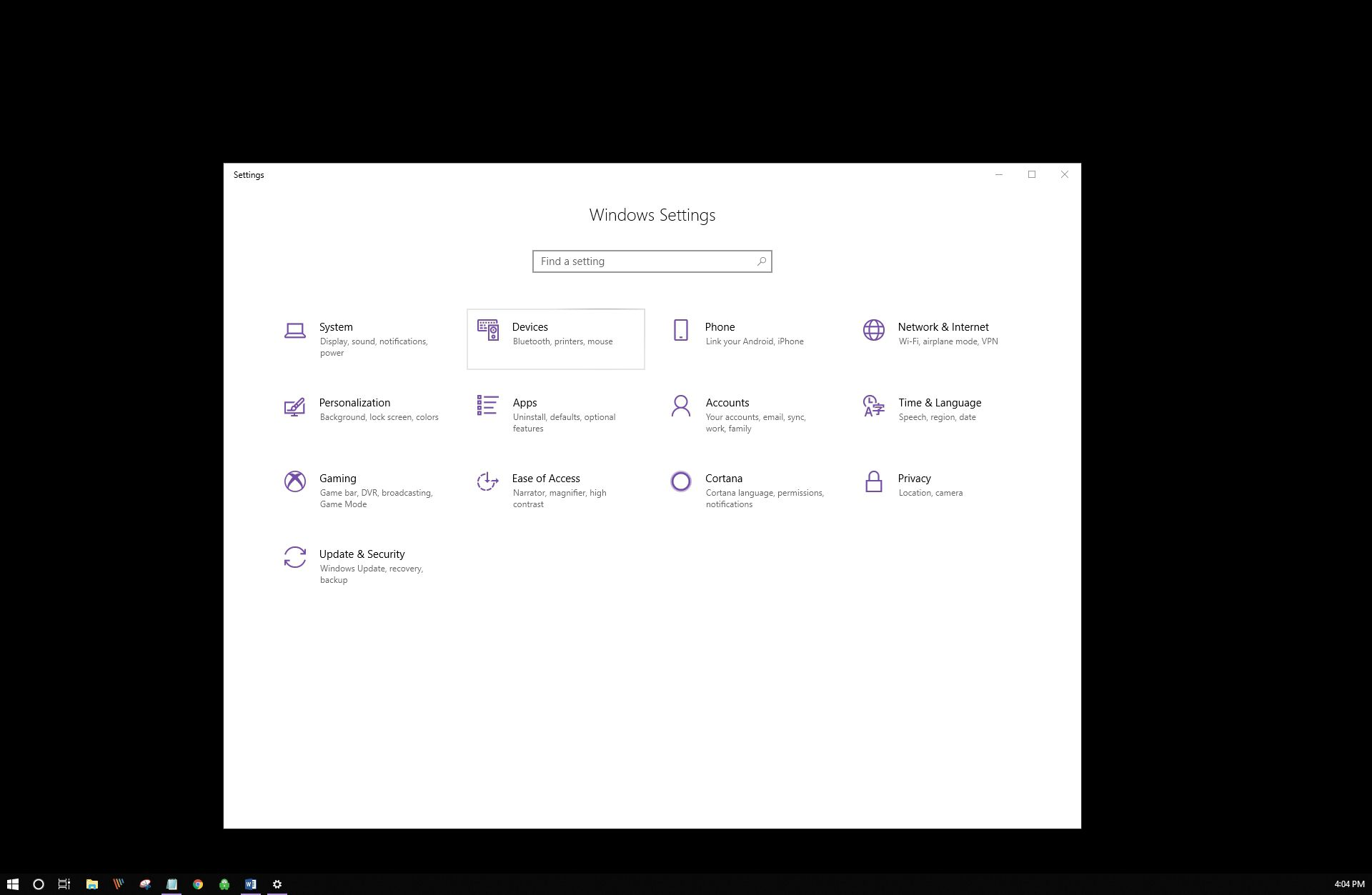 Windows Setting dialog box within Windows 10.