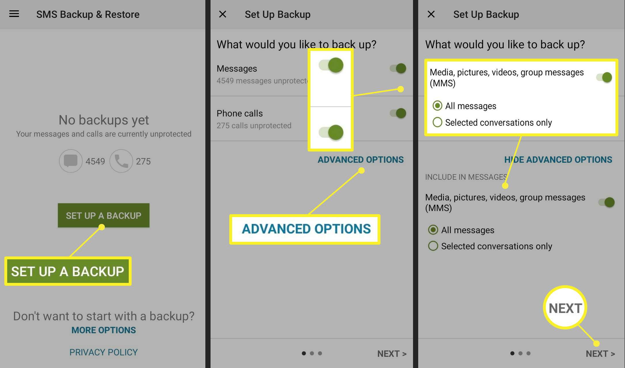 SMS Backup & Restore app screens for Android backups