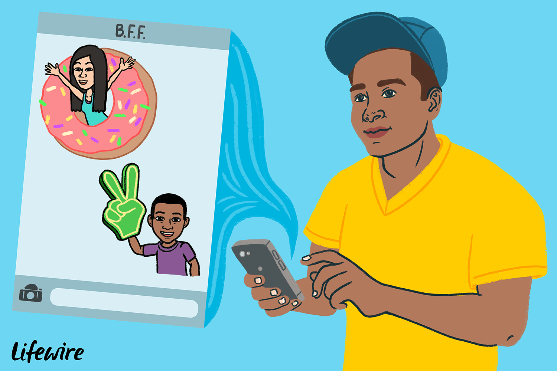 Person using Bitmoji on their smartphone, Bitmoji avatars on the screen
