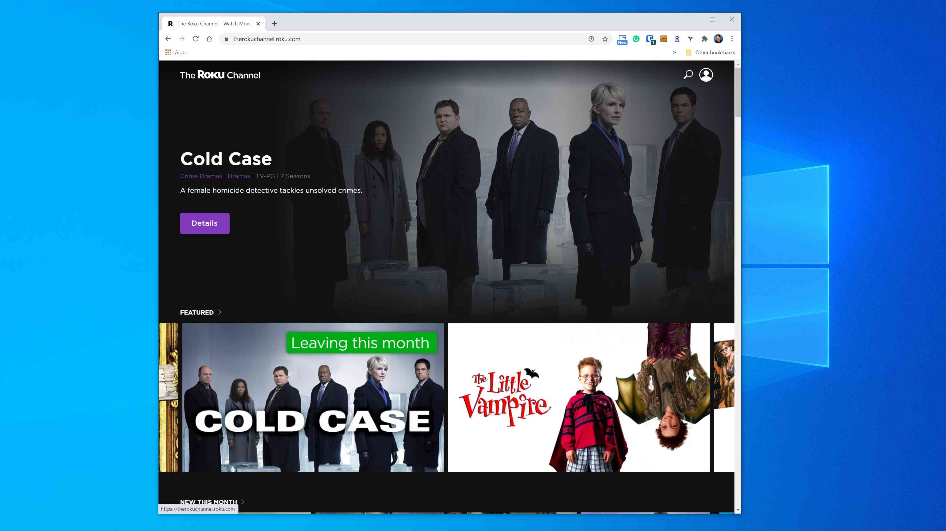 The Roku Channel web page
