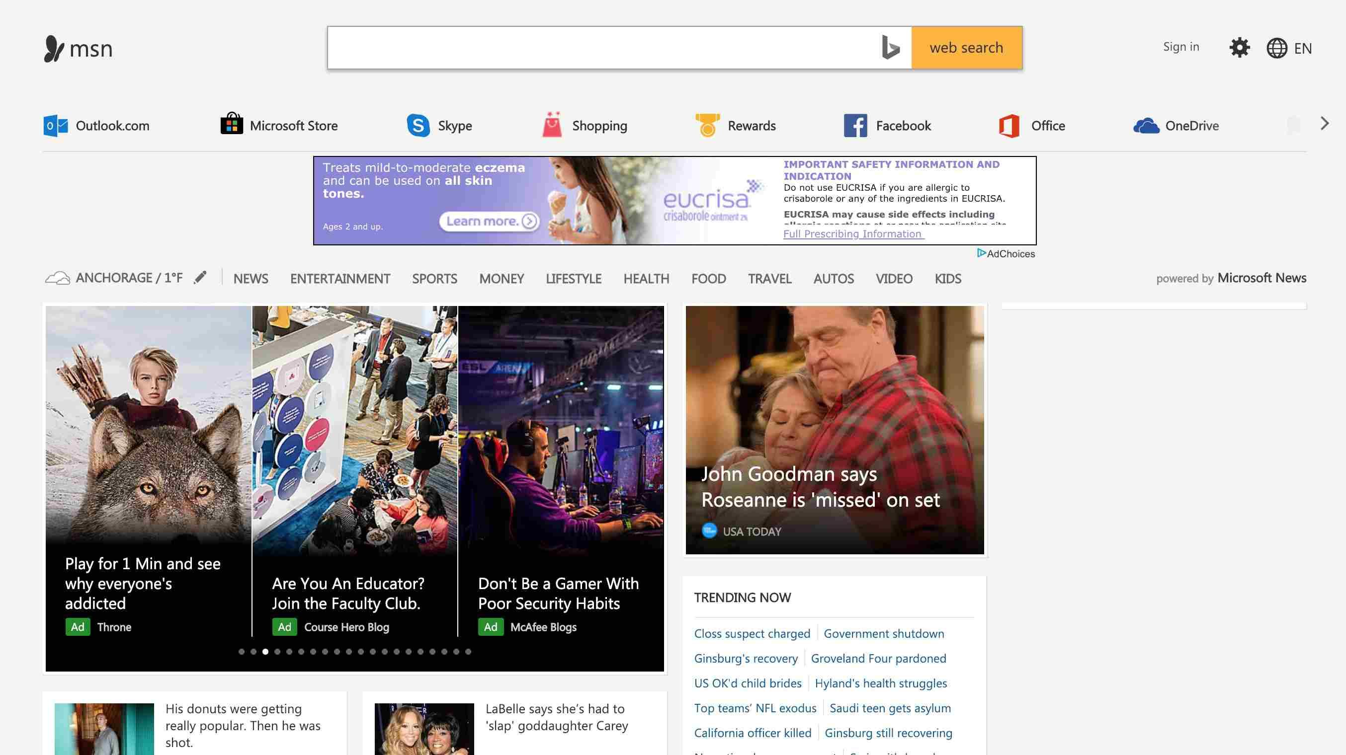 My MSN start page