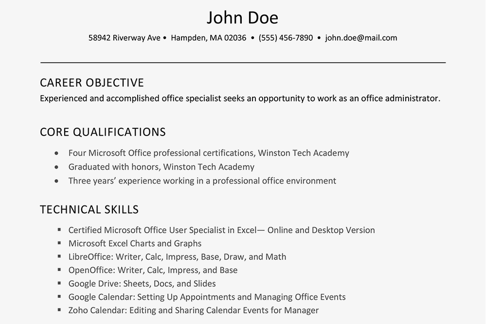 Professional Or Technical Skills For Resume Zanka