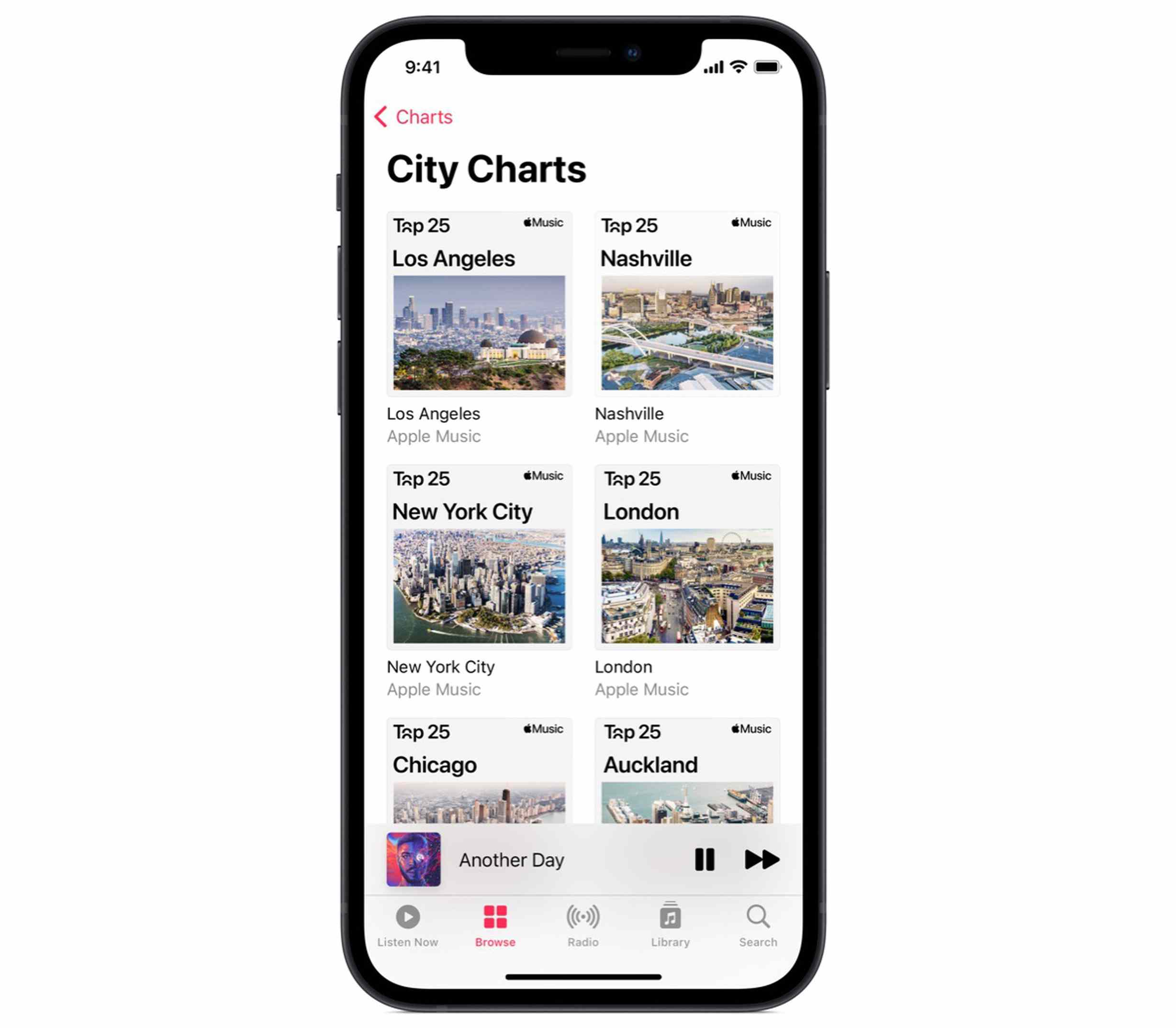An Apple phone displaying City Charts in Apple Music.
