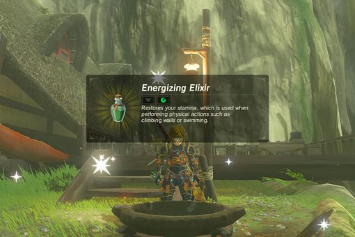 A screenshot of making an elixir in Legend of Zelda: Breath of the Wild