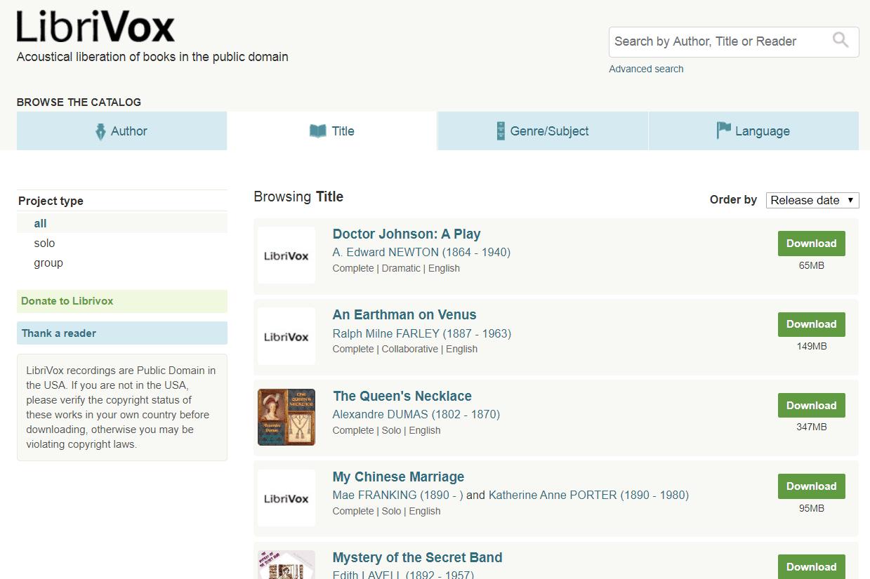 Librivox free book downloads