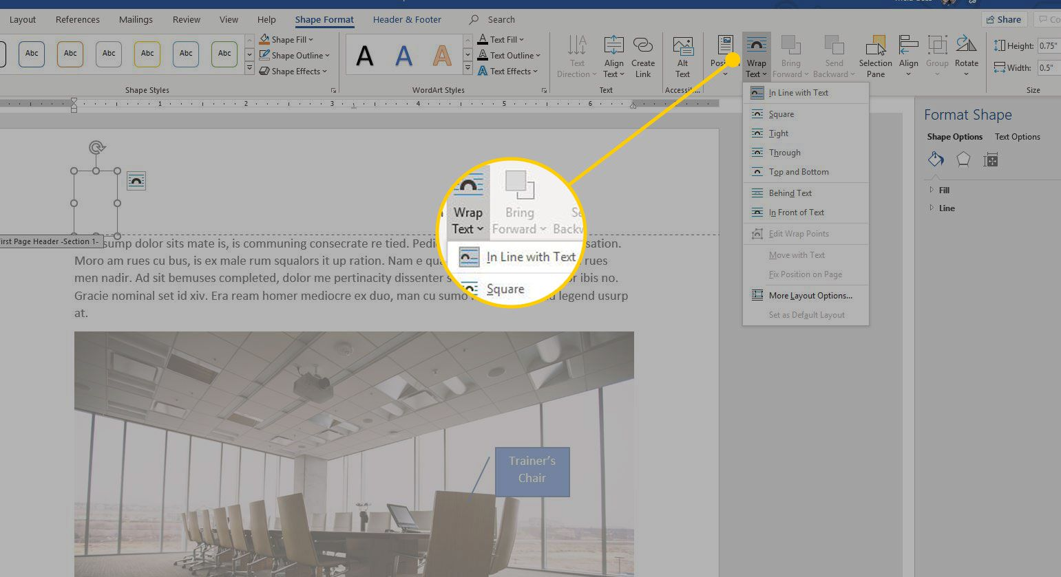 Wrap Text menu in Word with the