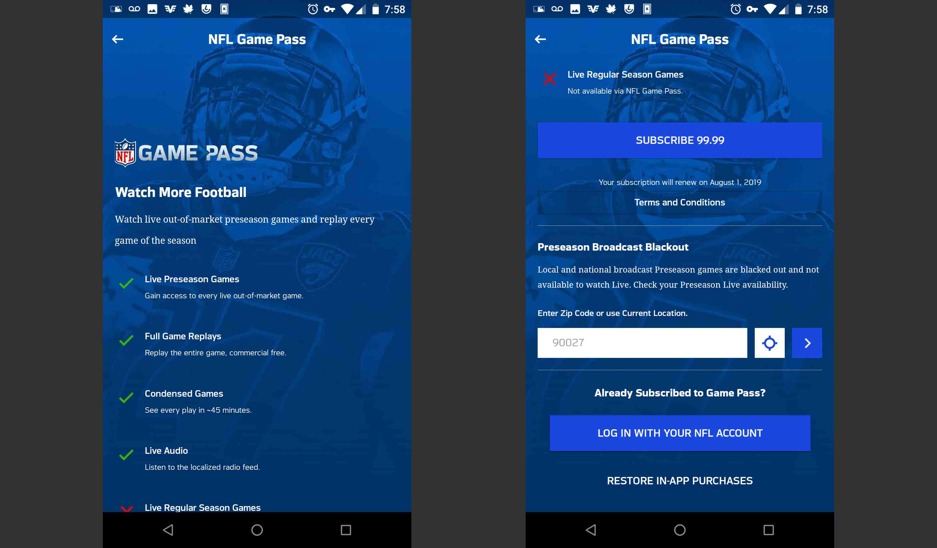 NFL Game Pass in the mobile app page