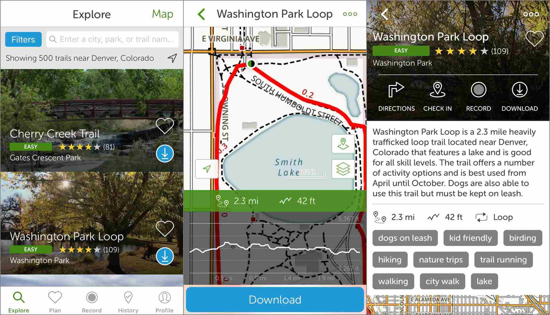 Screenshots of the AllTrails iPhone app