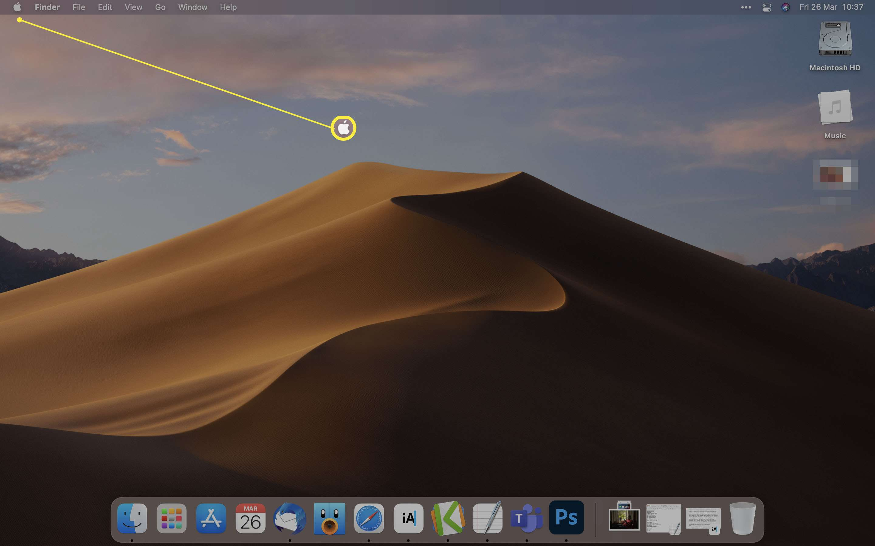 macOS desktop with Apple icon highlighted