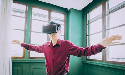 Person in a VR room