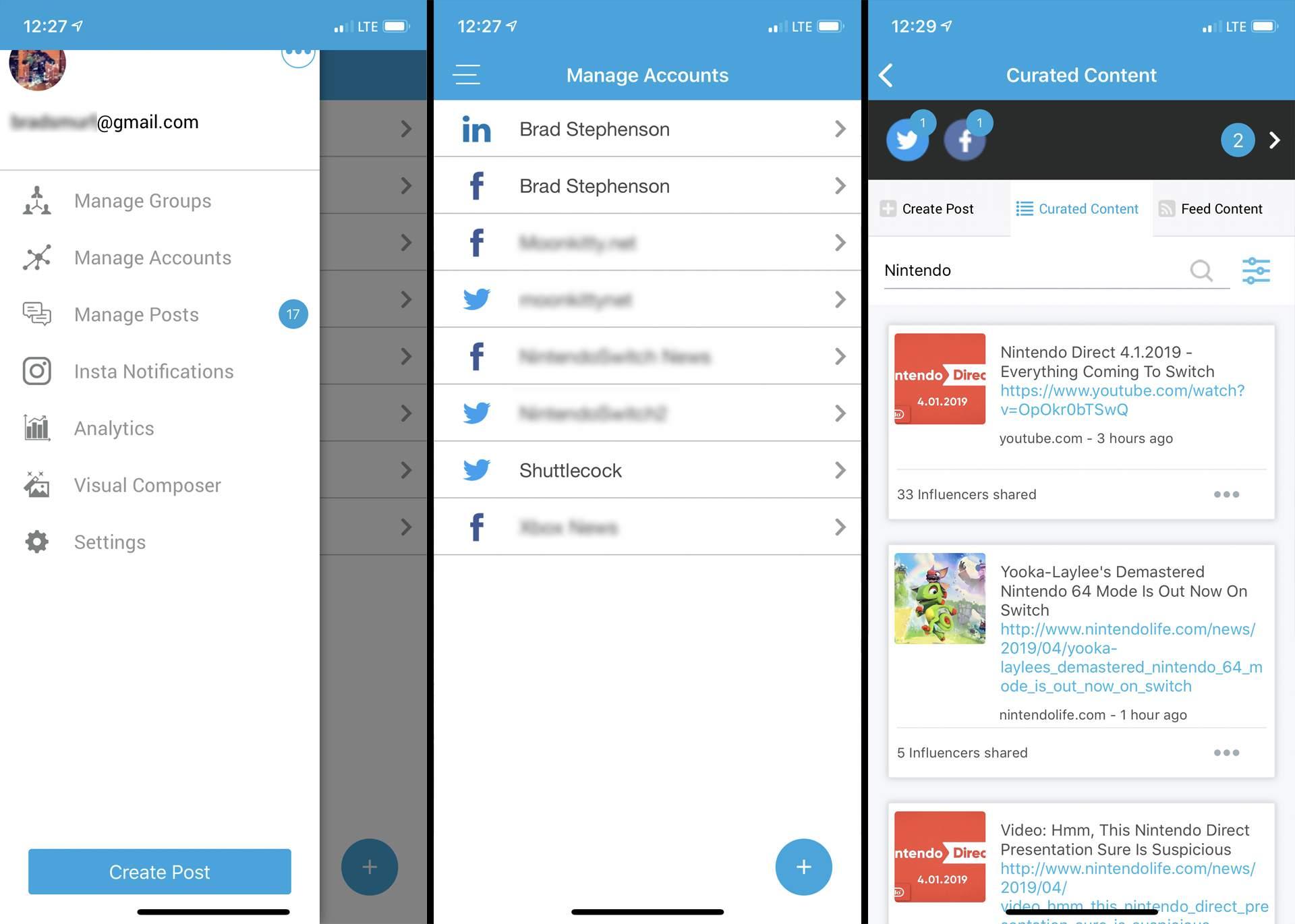 SocialPilot social media planning app on iPhone.