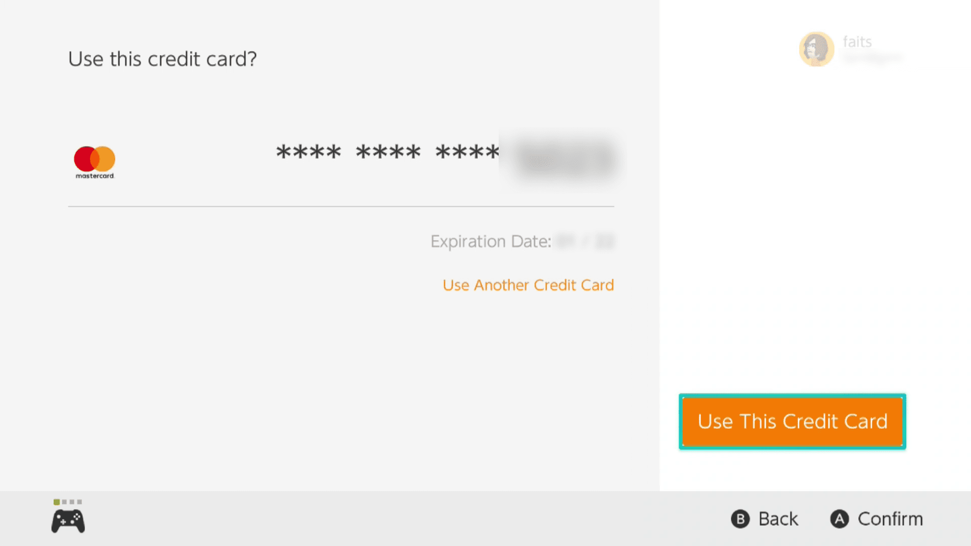 Use This Credit Card button highlighted in the Nintendo eShop.
