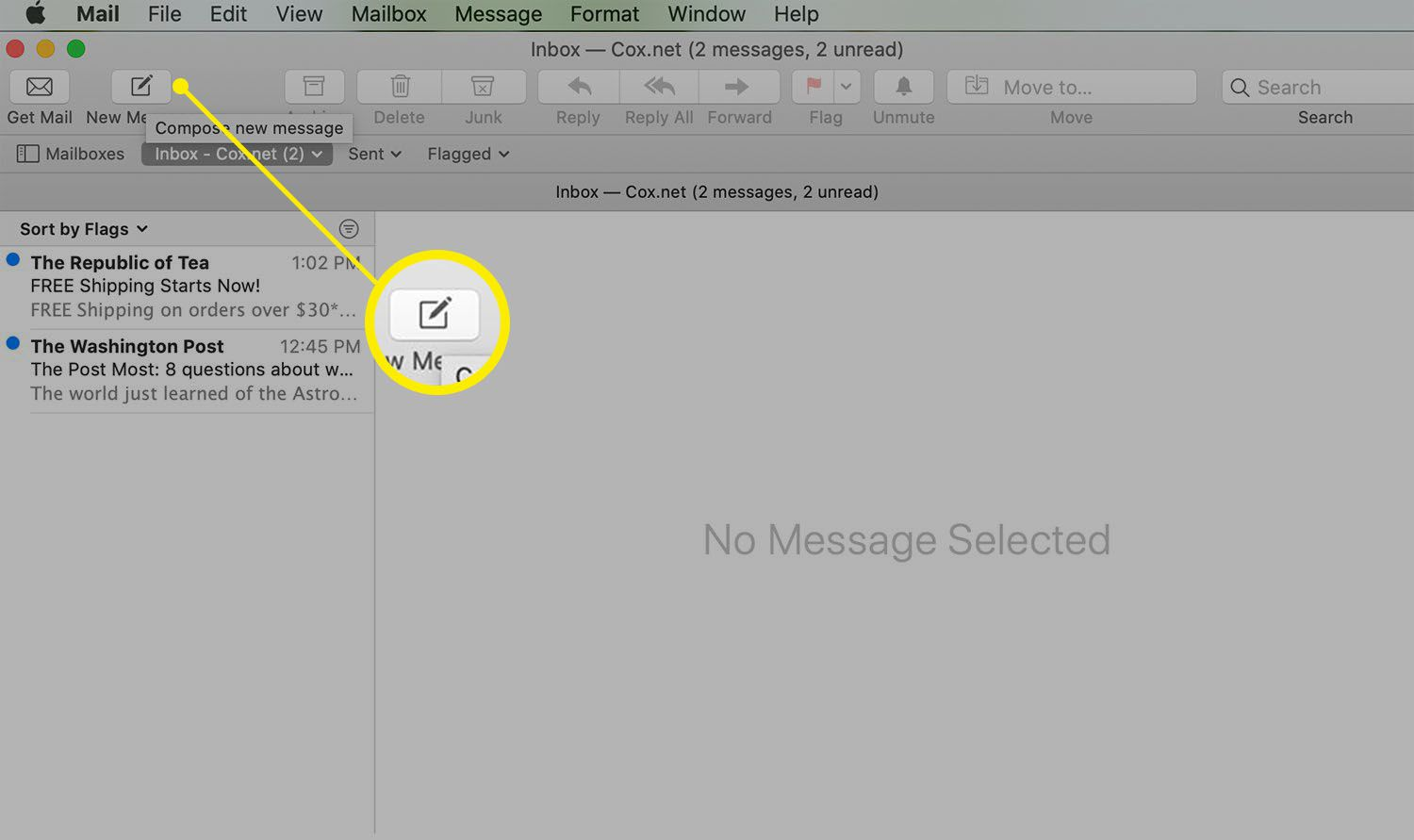 Mail screen showing New Message button
