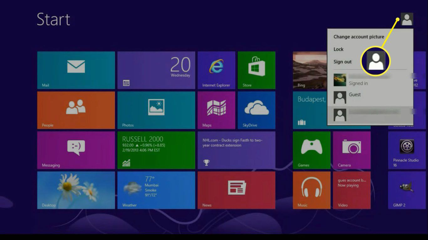 To switch between profiles, select the profile icon in the top-right corner of the Windows 8 Start screen.