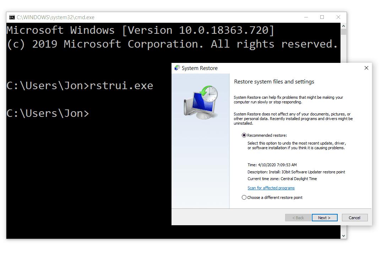 System Restore command in Windows 10