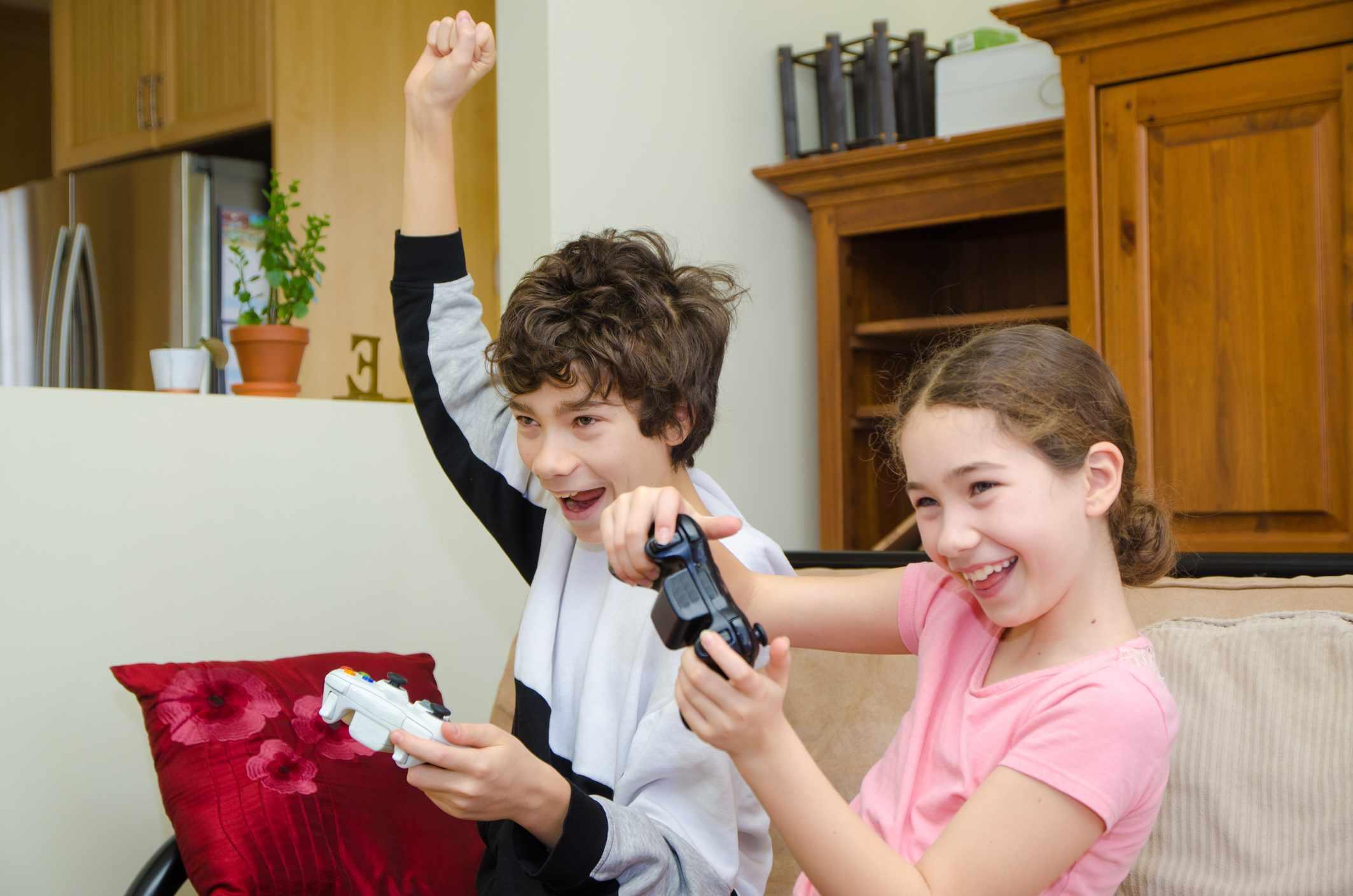 Kids playing on Xbox
