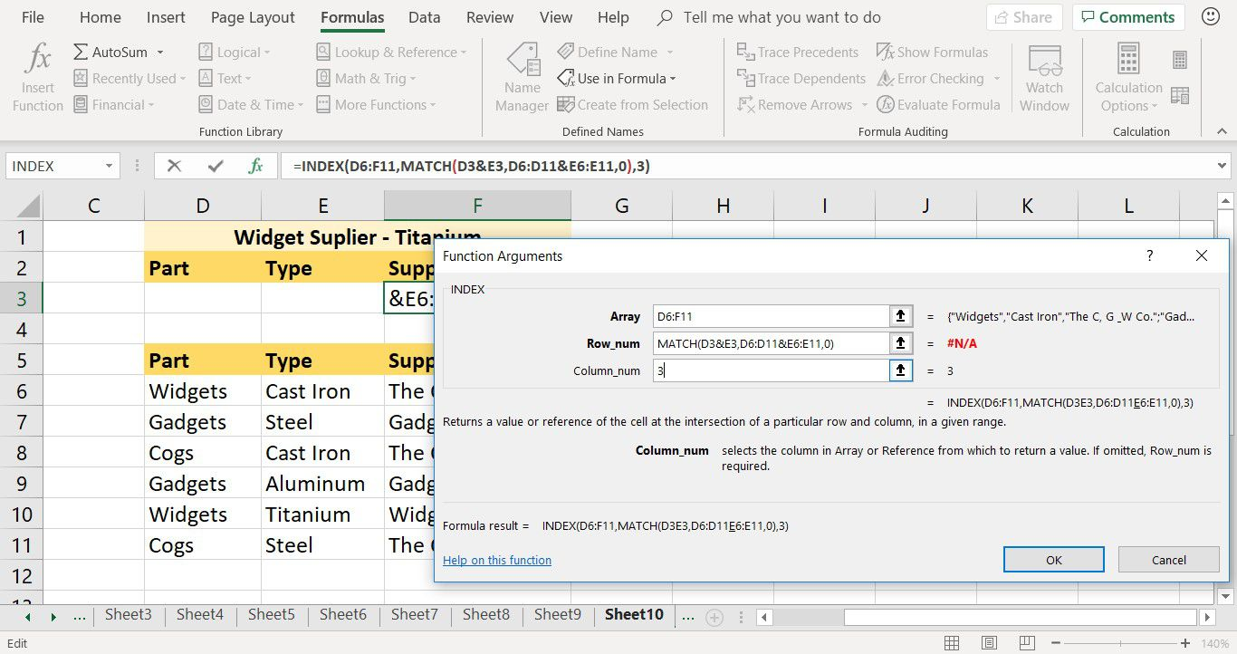 How to enter the INDEX function's Column_num argument in Excel