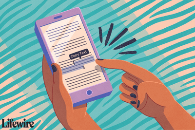 Illustration of a person copying highlighted text on their iPhone