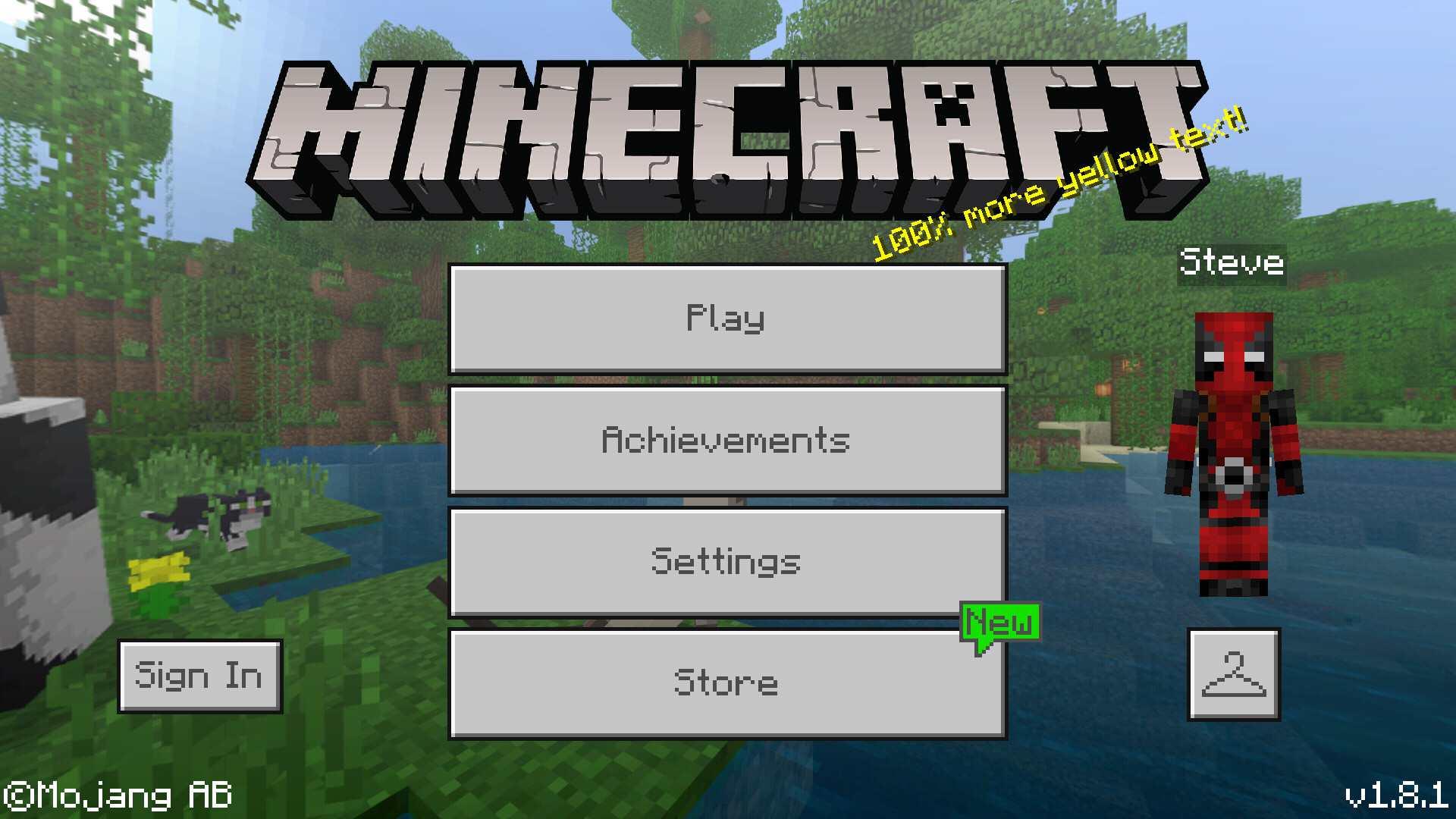 Minecraft Menu With Skin