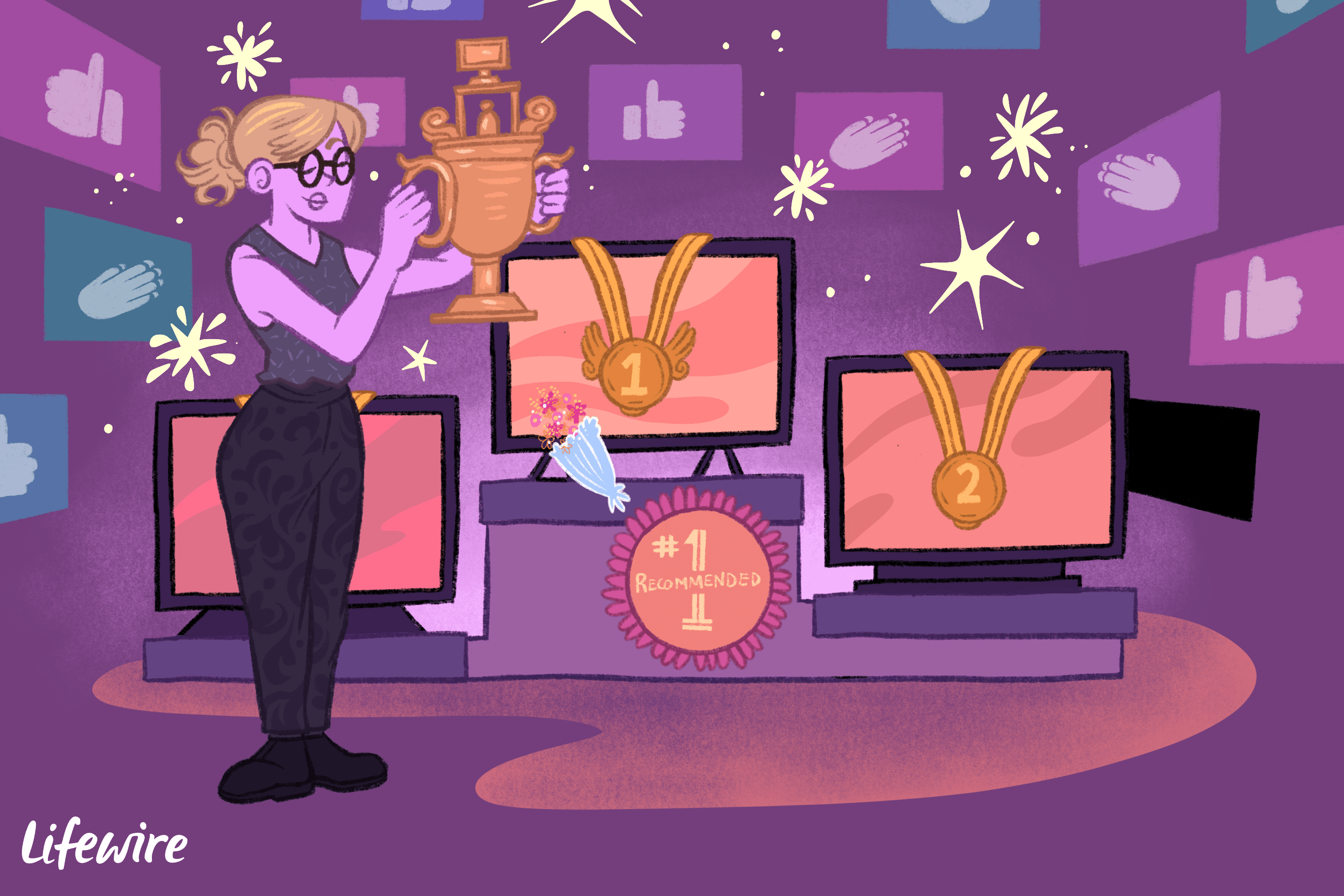 Person holding a trophy, choosing from several HDTVs
