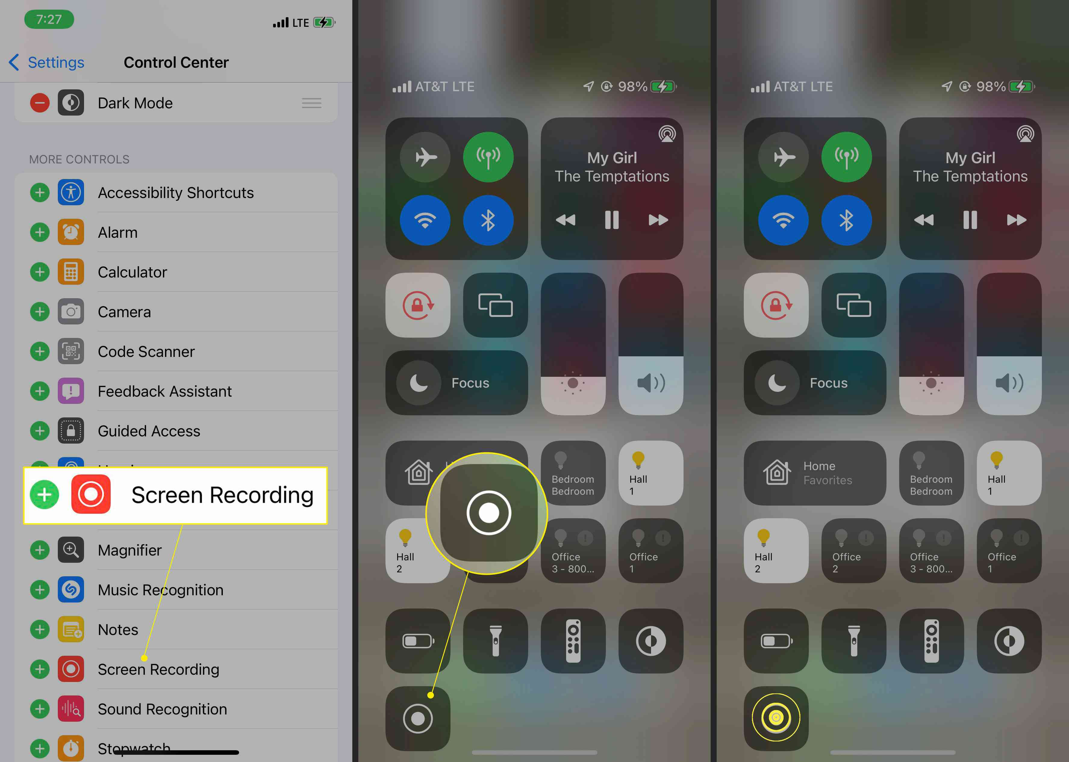 iPhone settings with Screen recording highlighted, and Control Panel with Play button highlighted and a tap-and-hold on the Play button