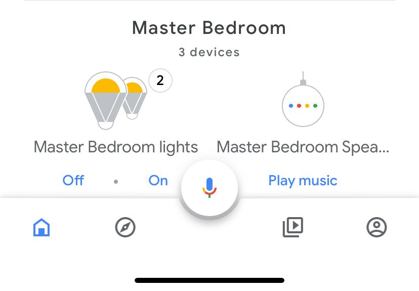 Google Home app showing a Google Home Device.
