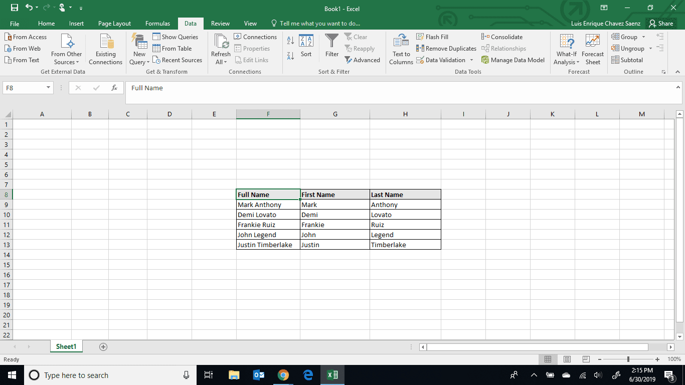 How to Separate Names in Excel