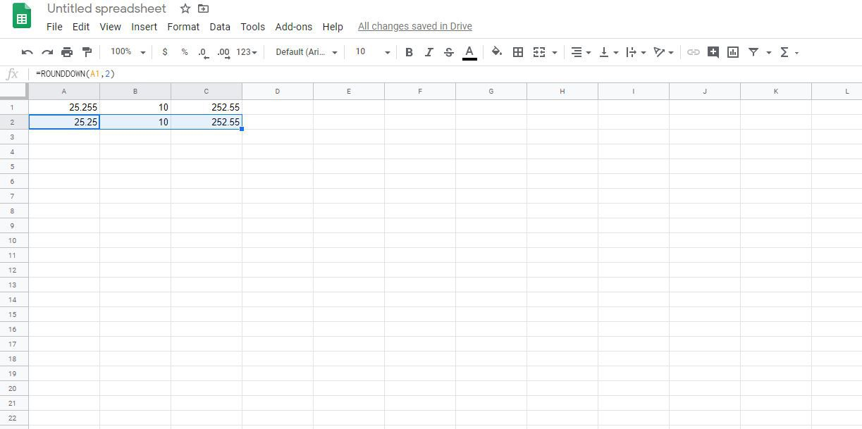 ROUNDDOWN function in Google Sheets