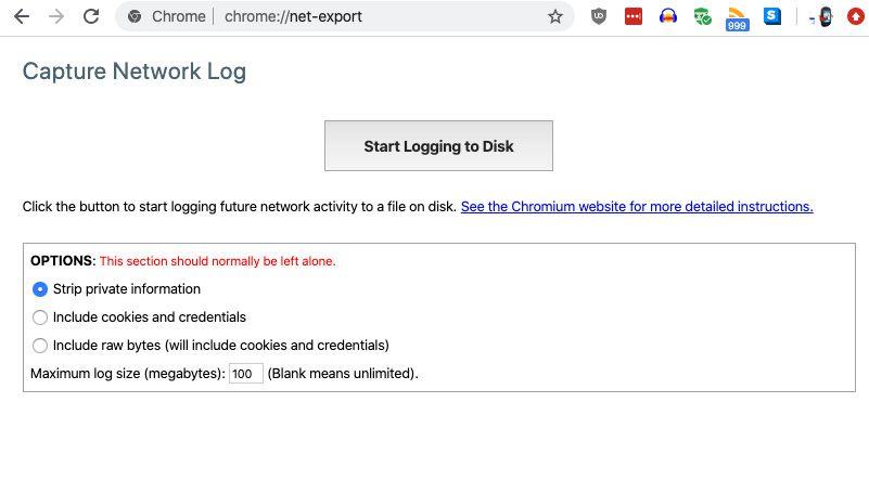 Click on Start Logging