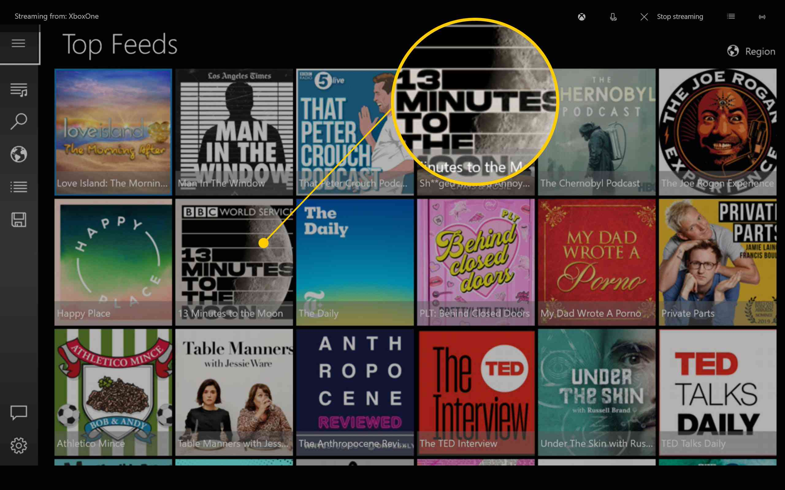 Xbox One Casts app with top feeds podcast apps listed as thumbnails