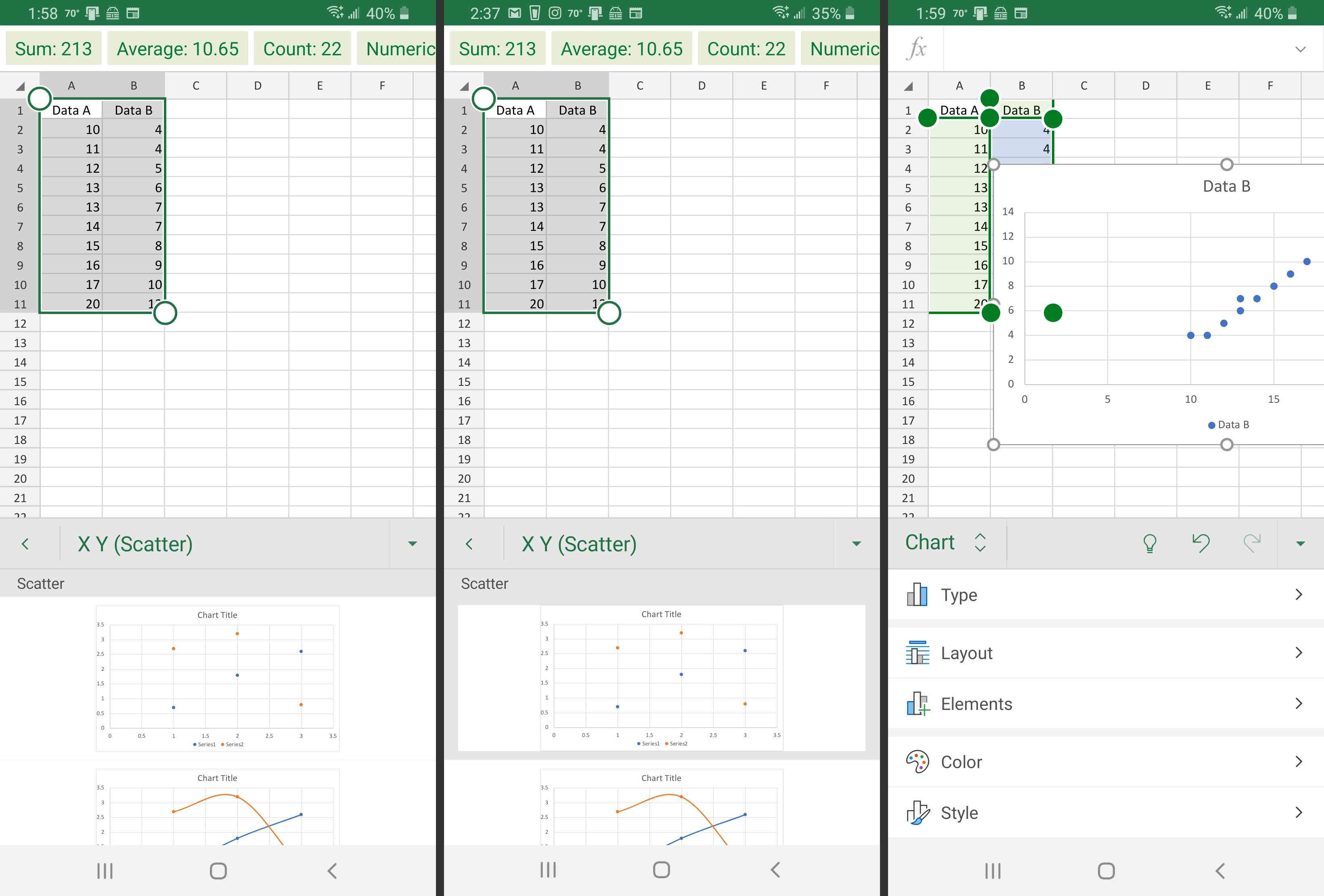Excel on Android scatter chart type (left) and Chart details (right).