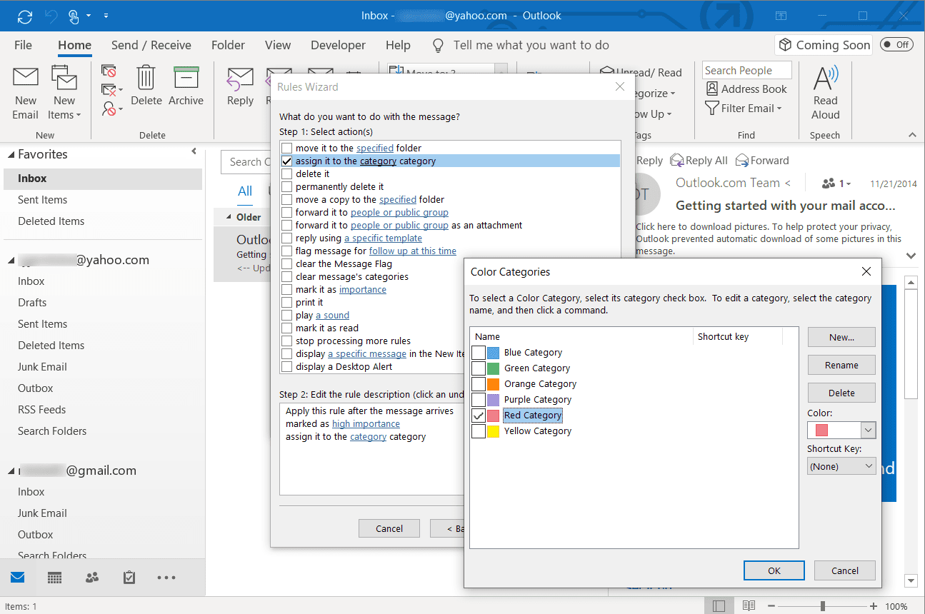 Screenshot of assigning a category to email in Outlook desktop